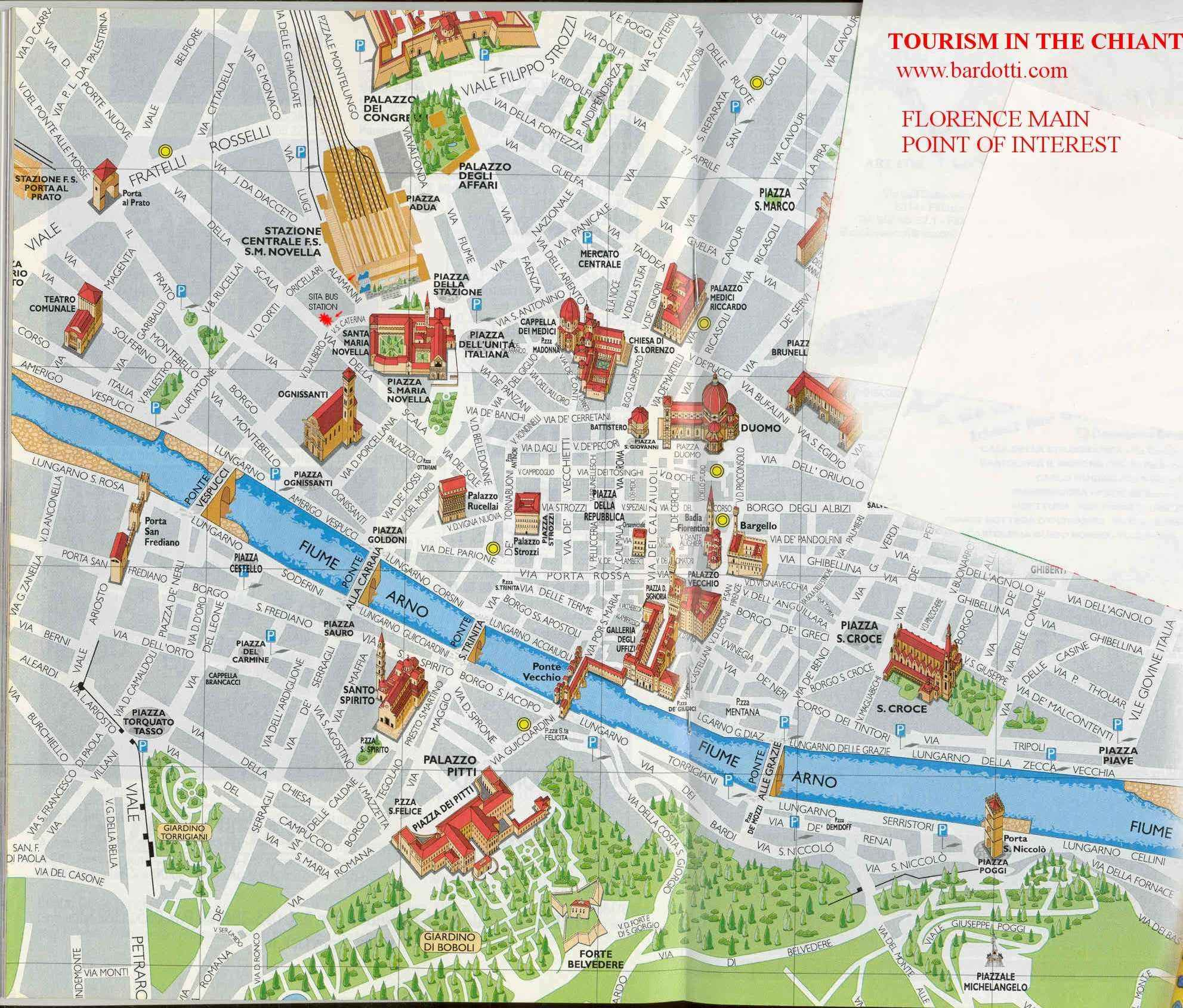 Tourism in the Chianti Guide to museums in Florence and main – Florence Tourist Attractions Map